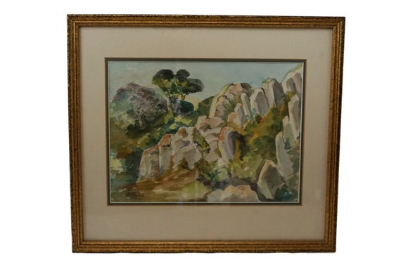 Provence Country Landscape Watercolor Painting, Framed Original French Country Art