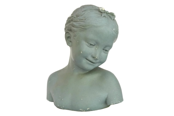 Antique Girl Portrait Bust Statue, Shabby French Chalkware Head Art Figure