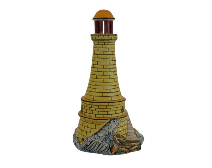 Ceramic Lighthouse Lamp Base, Mid Century Coastal and Nautical Decor