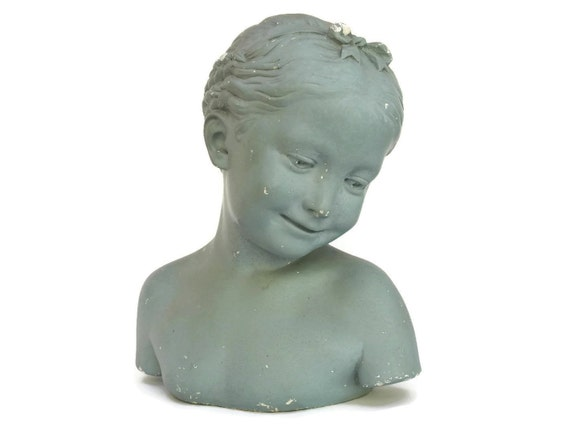 Antique Girl Portrait Bust Figure.