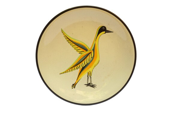 Mid Century Ceramic Bird Plate, Hand Painted French Uzes Art Pottery Signed A Rochat