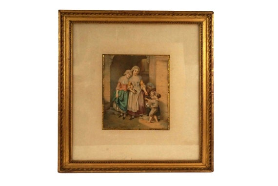 Antique Victorian Genre Gouache Painting, Framed Christian Charity Art
