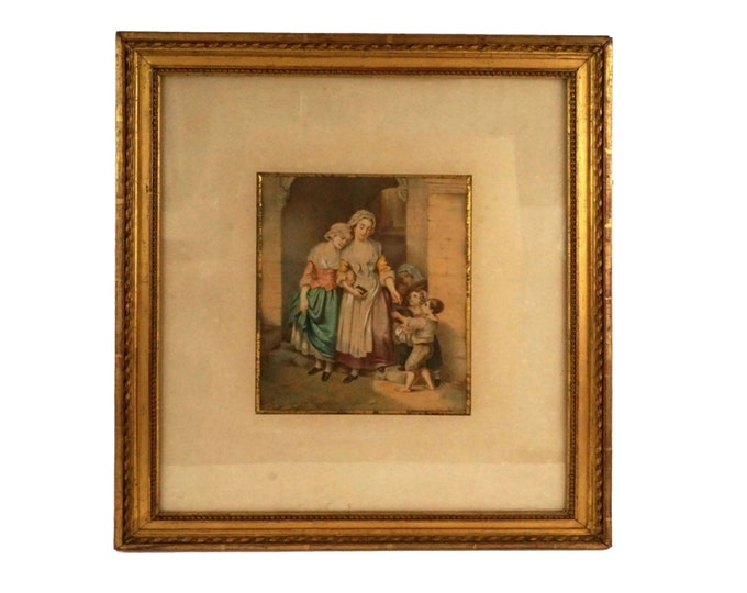 Antique Victorian genre gouache painting, Framed christian charity art