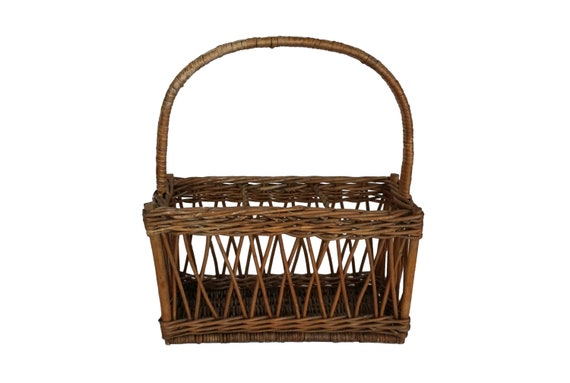 French Wine Bottle Carrier and Holder, Rustic Wicker Basket