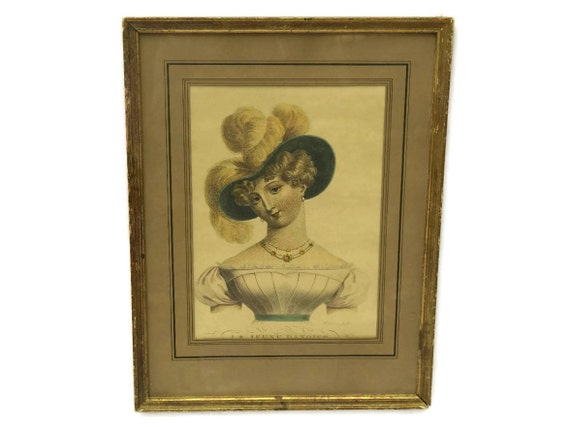 Romantic French Antique Engraving of La Jeune Danoise by Bosselman. 19th Century Framed Etching.