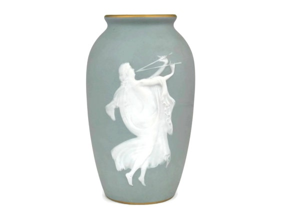 Camille Tharaud Celadon Blue Jasperware Vase with Euterpe Muse of Lyric Poetry.