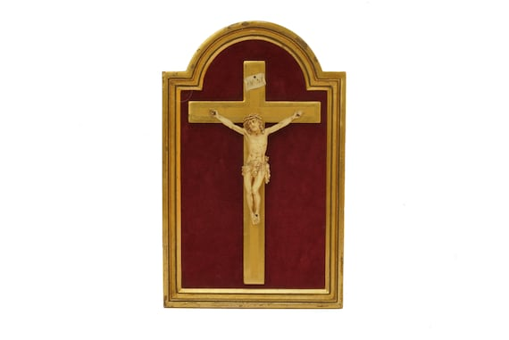Antique Christ on The Crucifix in Florentine Gilt Frame, Christian Cross with Jesus Figurine, Religious Wall Hanging Decor
