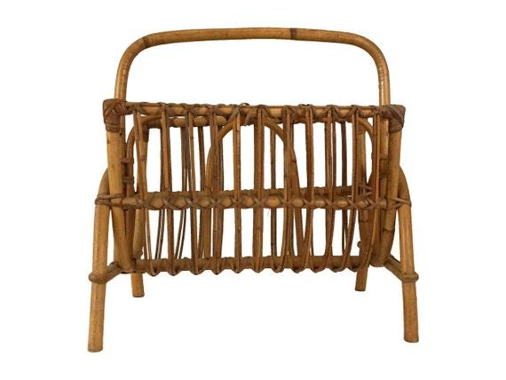 Vintage Bamboo Rattan Magazine rack, Newspaper Holder, Boho Home Decor