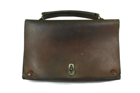 Vintage Leather Purse with Top Handle. Brown Leather French Handbag. Old School Case.