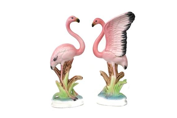 Pink Flamingo Porcelain Figurine Pair, Collectible Mid Century Japanese Ceramic Birds