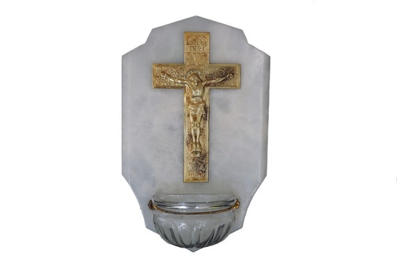 French Antique Holy Water Font with Brass Crucifix, Wall Hanging Cross and Stoup