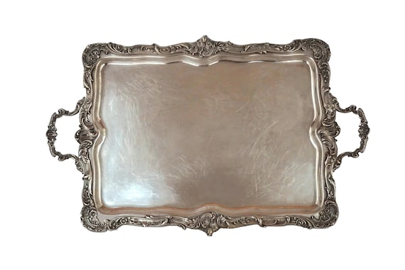 French Antique Silver Plate Serving Tray by Victor Saglier, Louis XV Style