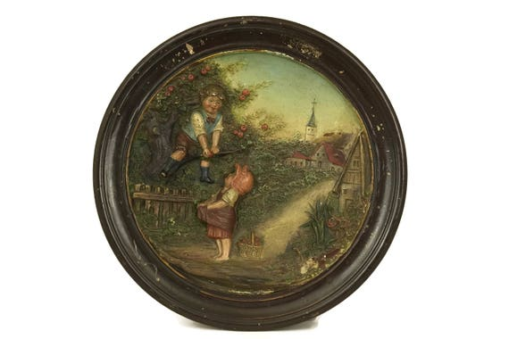 Bernhard Bloch Terracotta Plate with Children Picking Apples