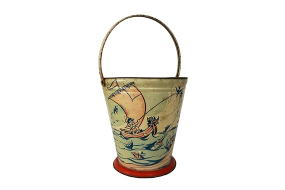 Antique Tin Beach Bucket, French Tole Sand Box Toy Pail