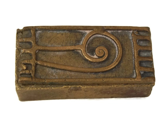 Antique Akan Gold Dust Box, Collectible African Art, Brass Jewelry Box with Ethnic Geometric Decor