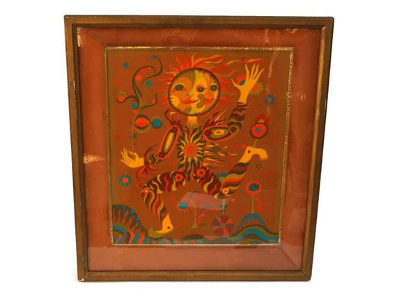 Mid Century Sun and Moon Face Painting with Flowers, Bohemian Home Decor