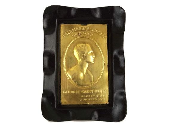 Antique Boxing Souvenir Coin Dish with Georges Carpentier Brass Portrait Medallion