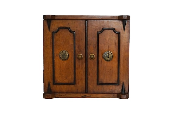 Antique Victorian Wooden Tea Caddy Box with 2 Doors and 3 Drawers, English Wood Storage Cabinet