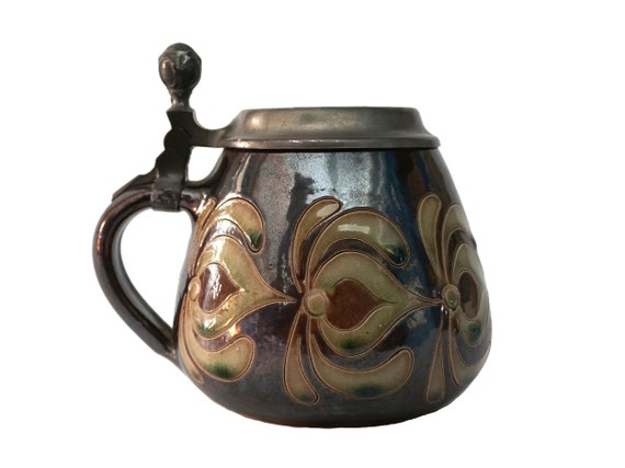 Zoller Stoneware Lidded Beer Stein with Etched Art Nouveau Flowers and Pewter Lid