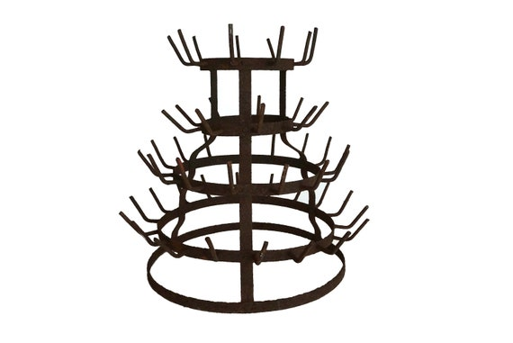 French Wine Bottle Dryer Rack, Rustic  Kitchen Cup and Mug Display Tree Stand