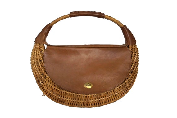 Leather and Wicker Shoulder Bag, French Mid Century Basket Purse