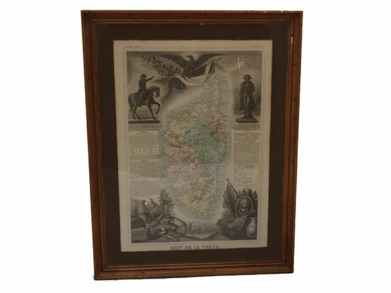 French Antique Map of Corsica in Frame with Napoleon Bonaparte Portrait and Eagle,