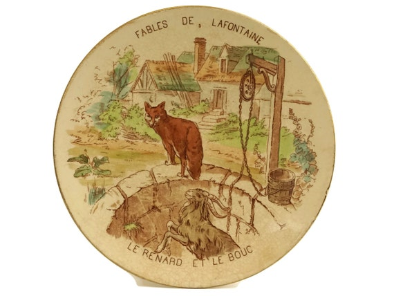Fables of La Fontaine Antique Wall Plate