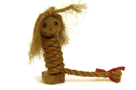 Vintage Wooden Folk Troll Doll, Wood Carved Rope Art Figurine from Norway, Lucky Charm Gnome Figure, Collectible Norwegian Elf Doll