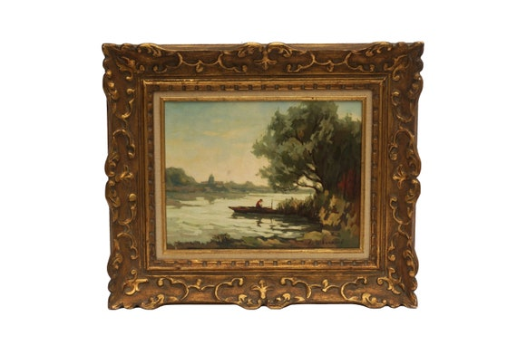 French Country Landscape Painting with Fisherman in Boat by Georges Leroux, Original Framed Art