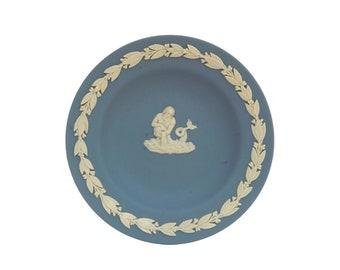 Vintage Wedgwood Blue Jasperware Pin Dish with Neptune Figure