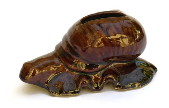 French Vintage Ceramic Snail Money Box. Escargot Coin Bank. Gift for gardener.