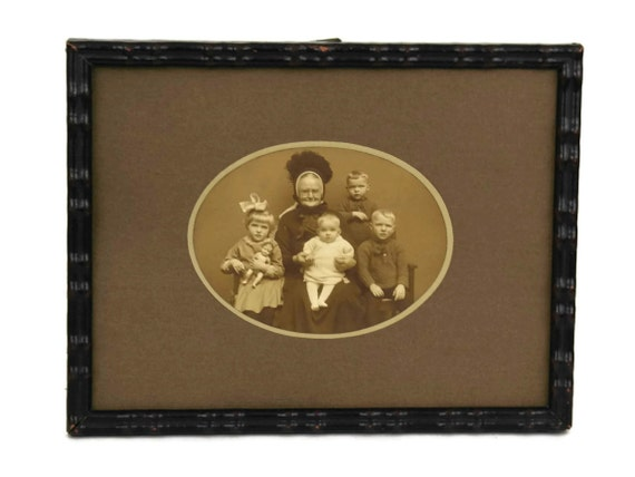 Antique Victorian Family Portrait Photo of Grandma and Children, Grandmother Gift