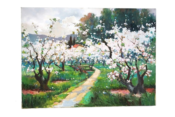 French Cherry Blossom Tree Painting, Provence Country Farmhouse Landscape Wall Art