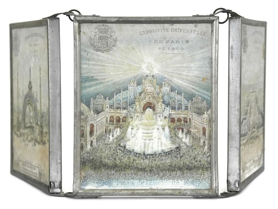 Antique Folding Mirror with 1900 Paris Exposition Prints