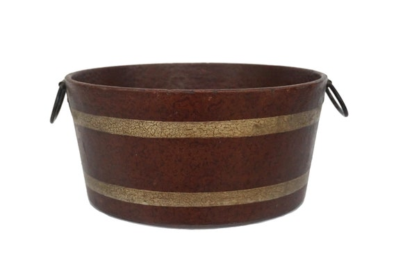 French Fruit Bowl Table Centerpiece, Faux Wood Barrel Bucket