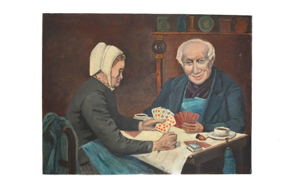 Old Man and Woman Portrait Art, French Card Players Oil Painting