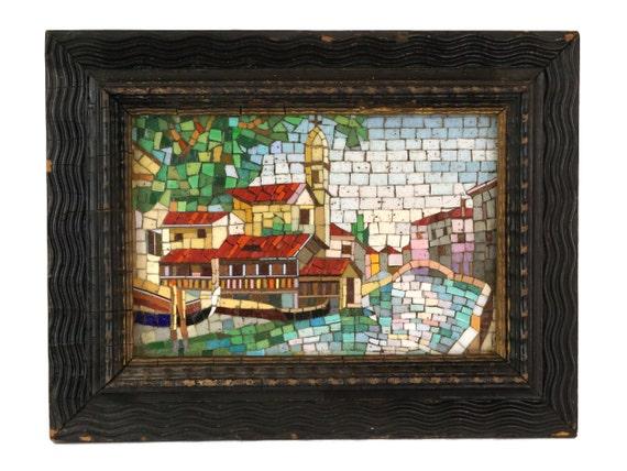 Antique Italian Micro Mosaic Venice Souvenir Scene in Frame