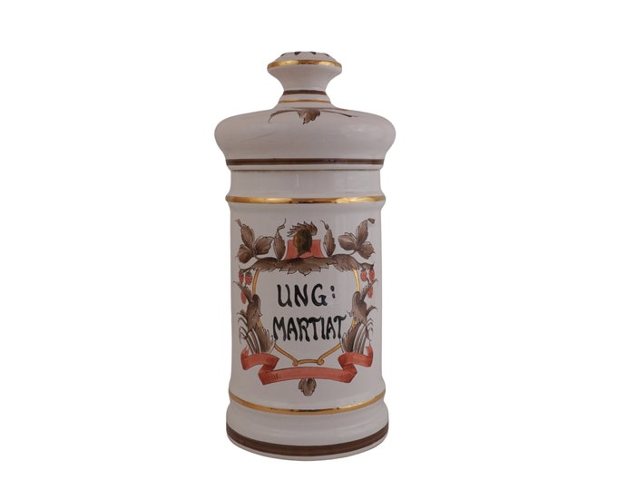 French Vintage Ceramic Apothecary Jar, Hand Painted Pharmacy Pot, Large Bathroom Storage Canister