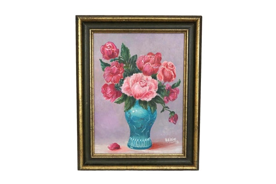 Vase of Roses Still Life Painting, Vintage Framed French Floral Bouquet Art