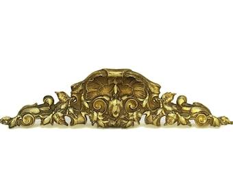 Antique French Bronze Furniture Pediment. 19th Century Furniture Molding.