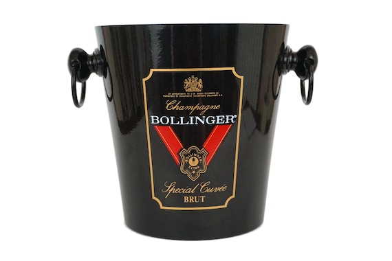 Vintage French Bollinger Champagne Bucket, Black Enamel Ice Cooler