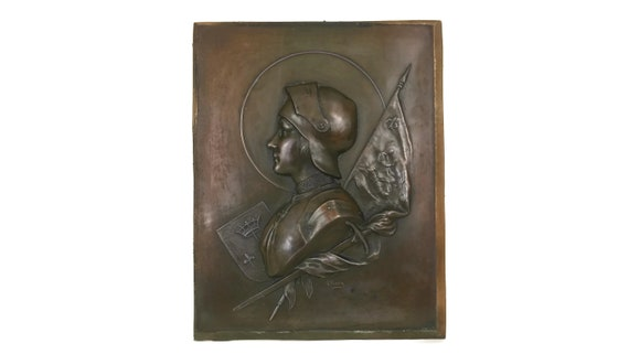Antique Joan of Arc Portrait Plaque, French Saint Wall Hanging, Jeanne d'Arc Bas Relief, Religious Decor