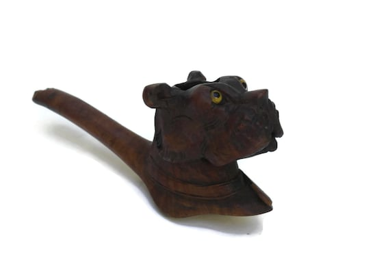 Antique Carved Wood Dog Head Smoking Pipe Bowl.