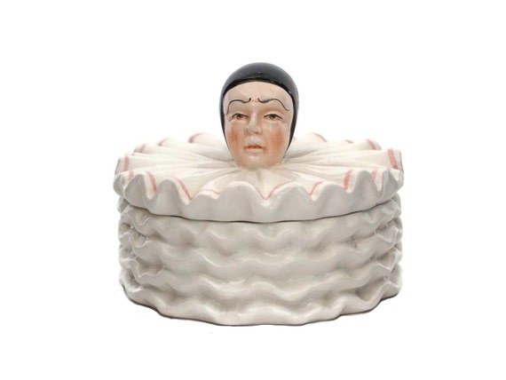 French Pierrot Jewelry Box, Ceramic Sad Clown Figure Trinket Dish