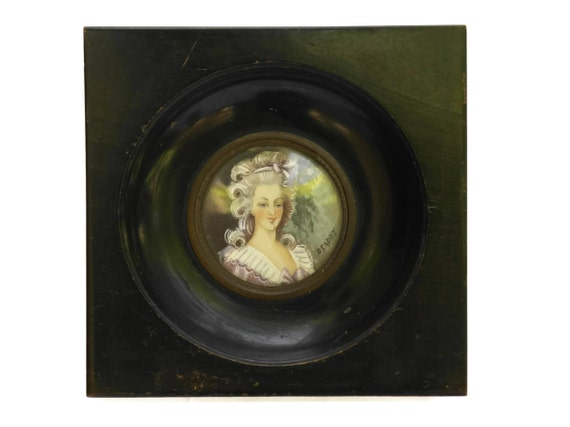 19th Century French Antique Miniature Marie Antoinette's Portrait Painting Signed Deadot.