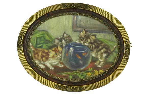 French Antique Cat Painting, Kittens and Fish Bowl Original Art in Oval Art Deco Frame