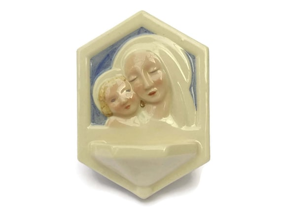 Desvres Faience Art Deco Holy Water Font by Gabriel Fourmaintaux. Madonna and Child Ceramic Wall Pocket. Signed C. Mano.