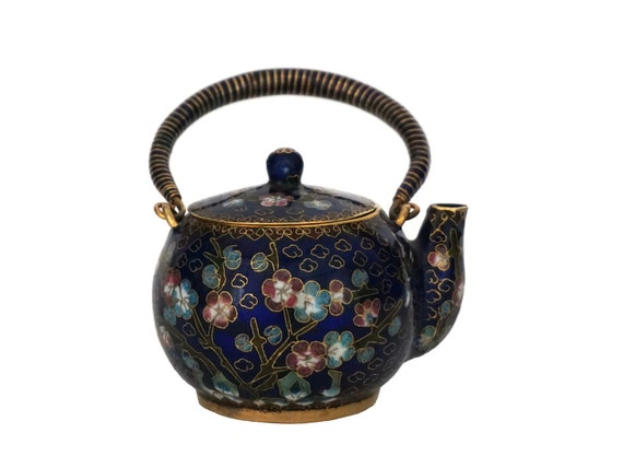 Miniature Chinese Cloisonne Teapot, Collectible Asian Home Decor