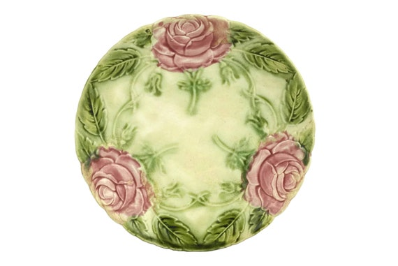 Antique Majolica Rose Wall Plate