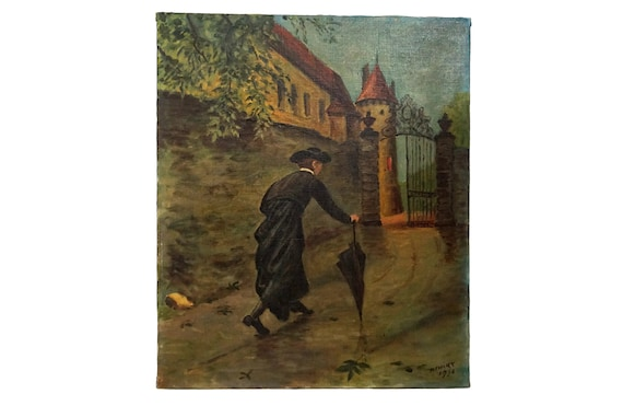 French Priest and Castle Painting, Vintage Signed Wall Art